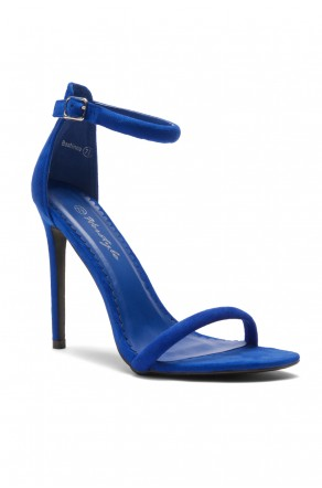 HerStyle Bashinna Ankle Rounded Strap, Open Toe, Stiletto Heel - Royal Blue