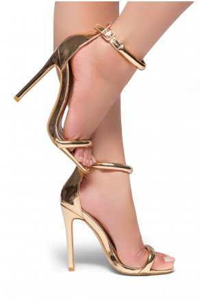 HerStyle Bashinna Ankle Rounded Strap, Open Toe, Stiletto Heel - Rose Gold