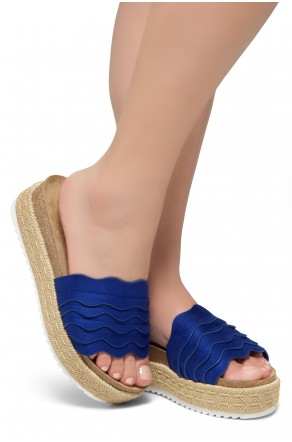 Shoe Land Beast Coast-2-Women's Slide On Footbed Comfort Platform Wedge Sandals with Espadrilles (Royalblue)