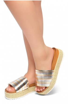 HerStyle Beast Coast-Multi Colors Vamp Platform Open Toe Slide Sandal (GoldMulti)