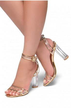 HerStyle Beautie-Perspex heel, ankle strap with an adjustable buckle(Clear Rose Gold)