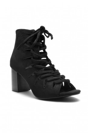 HerStyle  Bvilla Caged Lace-Up Chunky Heel Booties (Black)