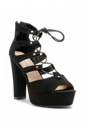 HerStyle Calliiee Lace up Platform Chunky Heel (Black)
