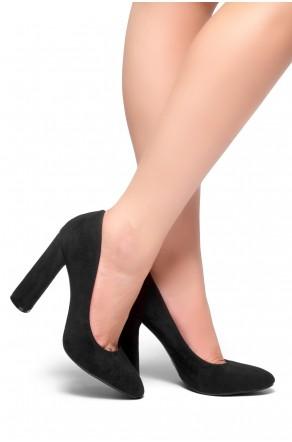 HerStyle Camylla-Curve heel Suedette pumps (Black)