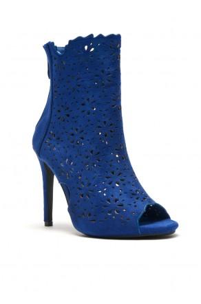 Women's RoyalBlue Cardross peep Toe, Zipper, Stiletto, Lacer cutout design, high heel sexy Booties