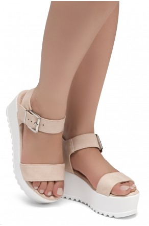 HerStyle Carita- Open Toe Ankle Strap Platform Wedge (Blush)