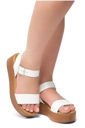 HerStyle Carita- Open Toe Ankle Strap Platform Wedge (White/Wood)