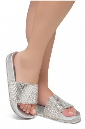 Shoe Land Caterina-2-Women's Fashion Rhinestone Slide Slip On Summer Sandals (Silver)