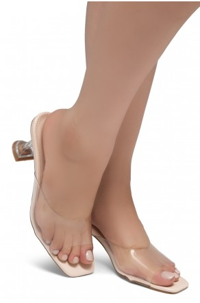Shoe Land CELEBRATE Women's Clear Peep Toe Slip-on Block Heels Sandals(ClearNude)