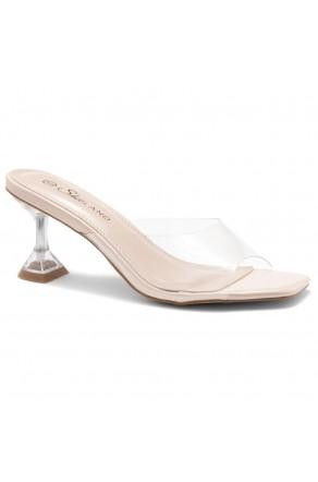 Shoe Land CELEBRATE Women's Clear Peep Toe Slip-on Block Heels Sandals(ClearNude)