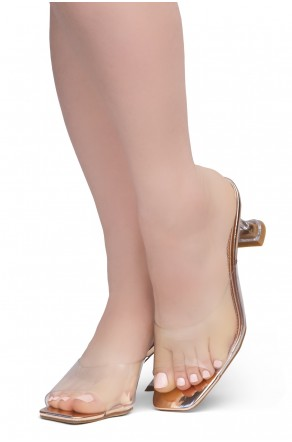 Shoe Land CELEBRATE Women's Clear Peep Toe Slip-on Block Heels Sandals(ClearRosegold)