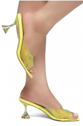 Shoe Land CELEBRATE Women's Clear Peep Toe Slip-on Block Heels Sandals(LimeYellow)