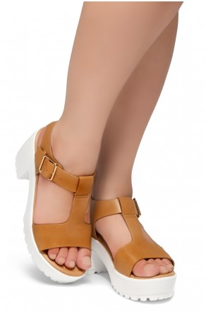 Herstyle Certain-Women's Platform Sandal with Low Heel T-Strap Open Toe (Camel)