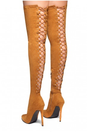 HerStyle Cessi-Stiletto heel, Thigh high, nail head detail (Cognac)
