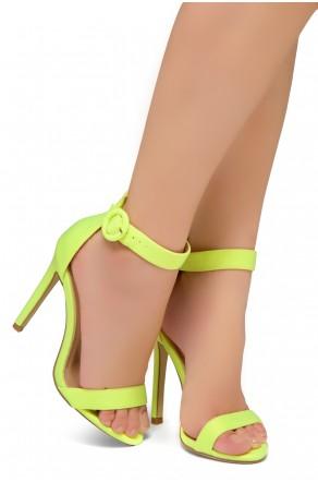 Shoe Land Charming- Ankle Strap Rounded Buckle Open Toe Stiletto Heel (LimeNeon)