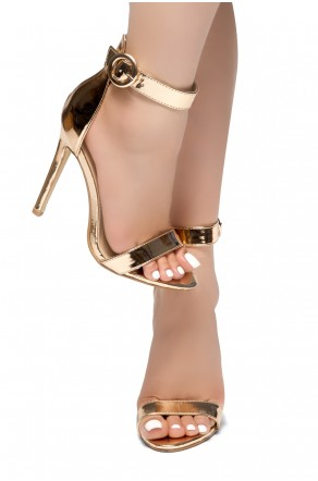 f5d14e2bb9b HerStyle Charming- Ankle Strap Rounded Buckle Open Toe Stiletto Heel  (RoseGold)