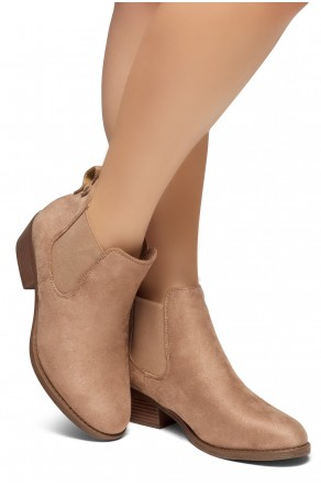 HerStyle Chelsea Booties-Casual Ankle Booties With Low Stacked Heel Almond Toe (Taupe)