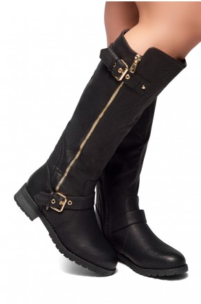 HerStyle City Runaway-Zipper Trim, Buckle detail Riding Knee High Boots (Black)