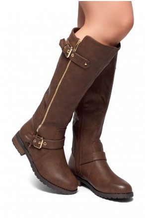HerStyle City Runaway-Zipper Trim, Buckle detail Riding Knee High Boots (Brown)