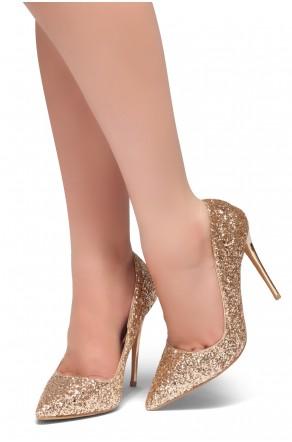 HerStyle COCKTAIL BLING- Glitter Details, Pointed Toe, Stiletto Heel (RoseGold Glitter)
