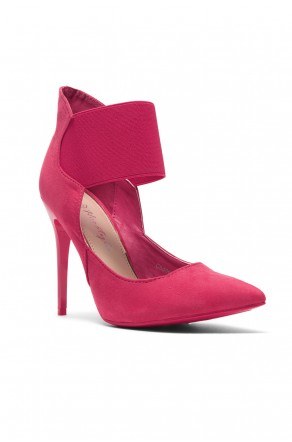 1fc89f844370 HerStyle Coddee Faux Suede ankle with elasticated strap Pointy Toe Stiletto  Pump (Fuchsia)
