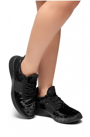 HerStyle Cool Girl-Velvet Lace up Rigged Sneaker (Black)