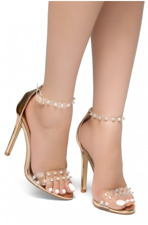 HerStyle Cordial-Stiletto heel, Clear Ankle Strap, Studded Detail Vamp (RoseGold)