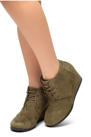 HerStyle Corlina-Round toe, wedge heel booties (Olive)