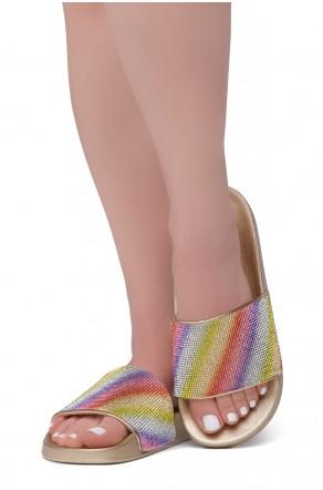 Shoe Land Cosmic Open Toe Jewelled Embellishment Slide Sandal (MultiGold)