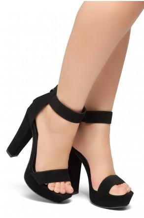 Shoe Land SL-Cutesy-Ankle Strap Chunky Platform Heel (Black)