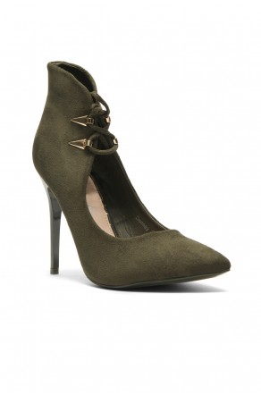 Women's Dennay Faux SuedeLace- Tie Pointy Toe Stiletto Pump - Olive