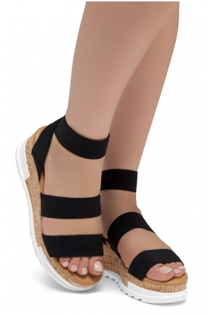 ShoeLand DIRASSA-Women's Open Toe Ankle Strap Platform Wedge Sandals(1896BlackELA)