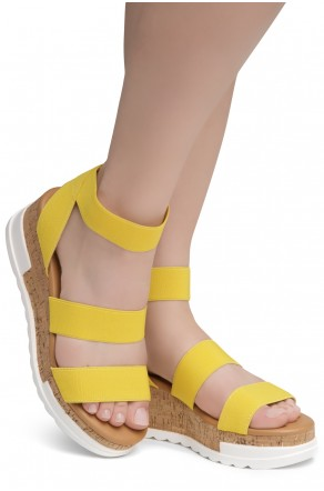 ShoeLand DIRASSA-Women's Open Toe Ankle Strap Platform Wedge Sandals(1896YellowELA)