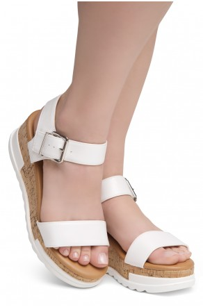 ShoeLand DIRASSA-Women's Open Toe Ankle Strap Platform Wedge Sandals(2010 White)