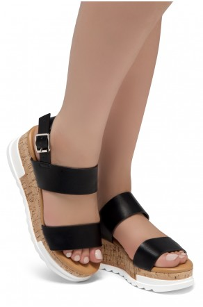 ShoeLand DIRASSA-Women's Open Toe Ankle Strap Platform Wedge Sandals(Black)