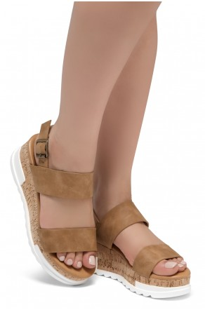ShoeLand DIRASSA-Women's Open Toe Ankle Strap Platform Wedge Sandals(Tan)