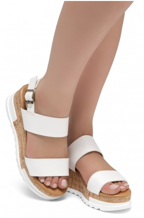 ShoeLand DIRASSA-Women's Open Toe Ankle Strap Platform Wedge Sandals(White)