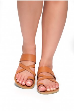 Women's Donnoddi Toe Ring Sandal with Unique Crisscross Straps (Cognac)