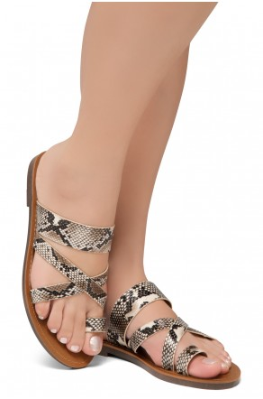 Shoe Land-Women's Donnoddi Toe Ring Sandal with Unique Crisscross Straps (Nat/Snk)