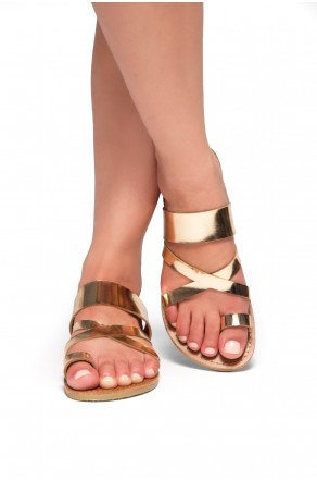 Women's Donnoddi Toe Ring Sandal with Unique Crisscross Straps (RoseGold)