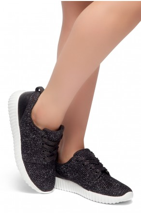 HerStyle EASY RIDER- Front Lace Up, Spec Flyknit Glitter Contrast Chic Style Sneakers (Black)