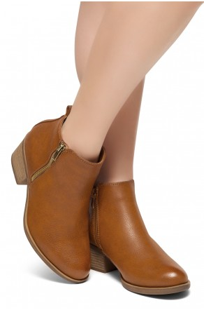ShoeLand Ellaire Women's Western Ankle Bootie Closed Toe Casual Low Stacked Heel Boots (Tan)
