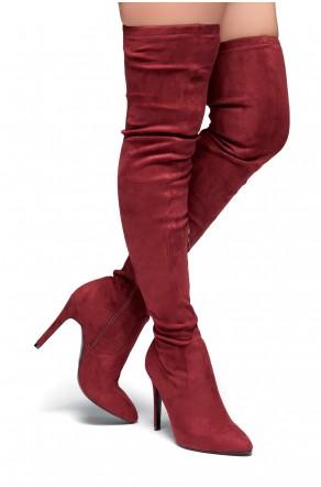 HerStyle Ellinnaa-Stiletto heel, Thigh high, Sock Boots(Burgundy)