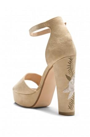HerStyle Ellisse faux suede Floral Platform Heel (Camel)