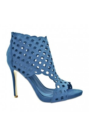 Women's Royale Blue Emaaleena 4.5-inch Open-Toe Sandal with Lacey Vamp