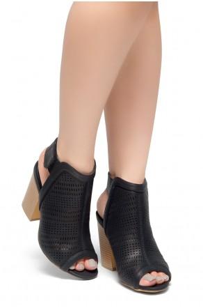 cdbe6c0562 HerStyle Emilina-Block heel, Peep Toe Open Back Booties (Black)