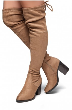 HerStyle Emmeery Almond toe, chunky heel, thigh high construction (Khaki)