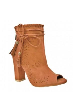 Women's Chestnut Tassel Heel Booties ENCOUNTER