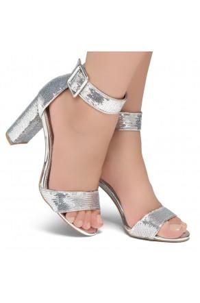 Shoe Land ENLOVE-Chunky heel, ankle strap (1835 SLVSQ/SLV)