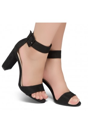 Shoe Land ENLOVE-Chunky heel, ankle strap (Black)
